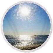 Round Beach Towel featuring the photograph Salt Spray Sun by Cassandra Buckley