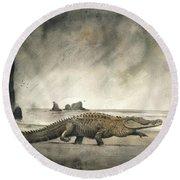Saltwater Crocodile Round Beach Towel