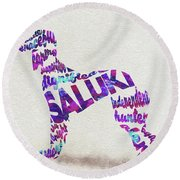 Round Beach Towel featuring the painting Saluki Dog Watercolor Painting / Typographic Art by Ayse and Deniz
