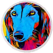 Saluki Portrait  Round Beach Towel