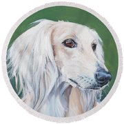 Saluki Sighthound Round Beach Towel by Lee Ann Shepard