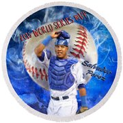 Salvador Perez 2015 World Series Mvp Round Beach Towel by Colleen Taylor