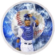 Salvy The Mvp Round Beach Towel by Colleen Taylor