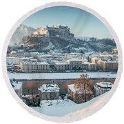 Salzburg Winter Morning Round Beach Towel