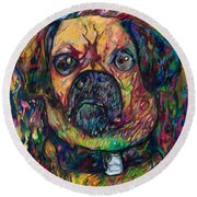 Sam The Dog Round Beach Towel