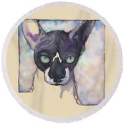 Sam The Sphynx Round Beach Towel
