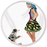 Round Beach Towel featuring the digital art Samantha by Nancy Levan