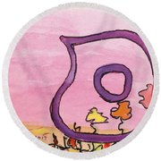 Samech And Flowers Round Beach Towel