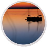 Samish Sea Sunset Round Beach Towel by Tony Locke