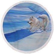 Samoyed Round Beach Towel