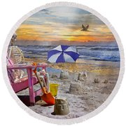 Sam's  Sandcastles Round Beach Towel by Betsy Knapp