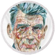 Round Beach Towel featuring the painting Samuel Beckett Watercolor Portrait.10 by Fabrizio Cassetta