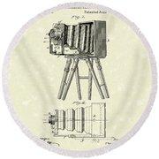 Samuels Photographic Camera 1885 Patent Art Round Beach Towel