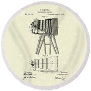 Samuels Photographic Camera 1885 Patent Art Round Beach Towel