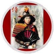 Samurai 1898 With Iron Fan Round Beach Towel