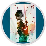 Samurai Girl - Watercolor Painting Round Beach Towel
