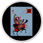 Samurai Warrior #4 Round Beach Towel