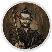 Samurai Warrior. Round Beach Towel