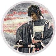 Samurai Warrior Round Beach Towel