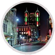 Round Beach Towel featuring the photograph San Antonio Alight by Frozen in Time Fine Art Photography
