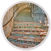 San Antonio Riverwalk Stairway Round Beach Towel
