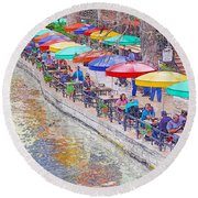 San Antonio Riverwalk Umbrellas Round Beach Towel