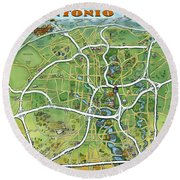 San Antonio Texas Cartoon Map Round Beach Towel