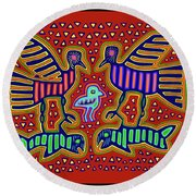Round Beach Towel featuring the digital art San Blas Kuna Bird Family With Fish by Vagabond Folk Art - Virginia Vivier