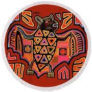 Round Beach Towel featuring the digital art San Blas Kuna Indian Bat by Vagabond Folk Art - Virginia Vivier