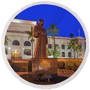 Round Beach Towel featuring the photograph San Buenaventura City Hall by Susan Candelario
