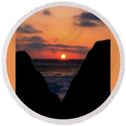 San Clemente Beach Rock View Sunset Portrait Round Beach Towel