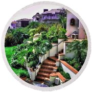 Round Beach Towel featuring the digital art San Clemente Estate Backyard by Kathy Tarochione
