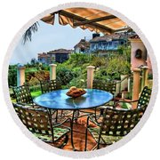 Round Beach Towel featuring the digital art San Clemente Estate Patio by Kathy Tarochione