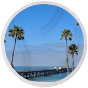 San Clemente Pier Round Beach Towel