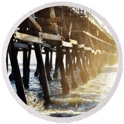 Round Beach Towel featuring the photograph San Clemente Pier Magic Hour by Kyle Hanson