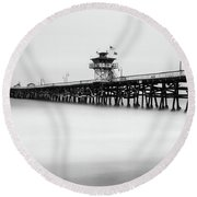 Round Beach Towel featuring the photograph San Clemente Pier by Tassanee Angiolillo