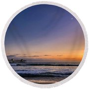 Round Beach Towel featuring the photograph San Clemente Sunset by Brian Eberly