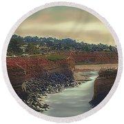 Round Beach Towel featuring the digital art San Diago, California by Bonnie Willis
