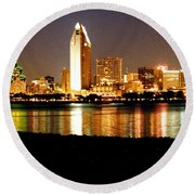 San Diego Skyline With Reflections On Mission Bay Round Beach Towel