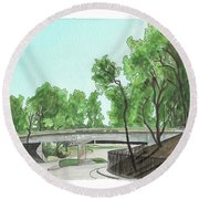 Round Beach Towel featuring the painting San Diego Recruit Depot Welcome by Betsy Hackett
