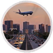 San Diego Rush Hour  Round Beach Towel