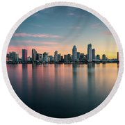 Round Beach Towel featuring the photograph San Diego Skyline At Dawn by James Udall