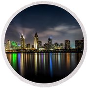 San Diego Skyline At Night Round Beach Towel