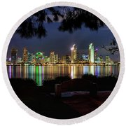 San Diego Skyline Round Beach Towel by Eddie Yerkish