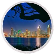 San Diego Skyline From Bay View Park In Coronado Round Beach Towel