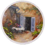 Round Beach Towel featuring the painting San Donato Village Italy by Chris Hobel