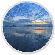 Round Beach Towel featuring the photograph San Elijo Blue by John F Tsumas