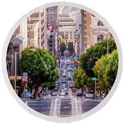 San Fran Cable Car Round Beach Towel