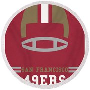 San Francisco 49ers Vintage Art Round Beach Towel by Joe Hamilton