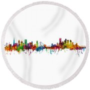 San Francisco And Pittsburgh Skylines Mashup Round Beach Towel